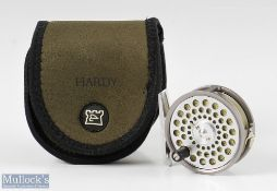 """Hardy Bros England Flyweight 2 ½"""" alloy fly reel with line guide, smooth alloy foot marked A40831,"""