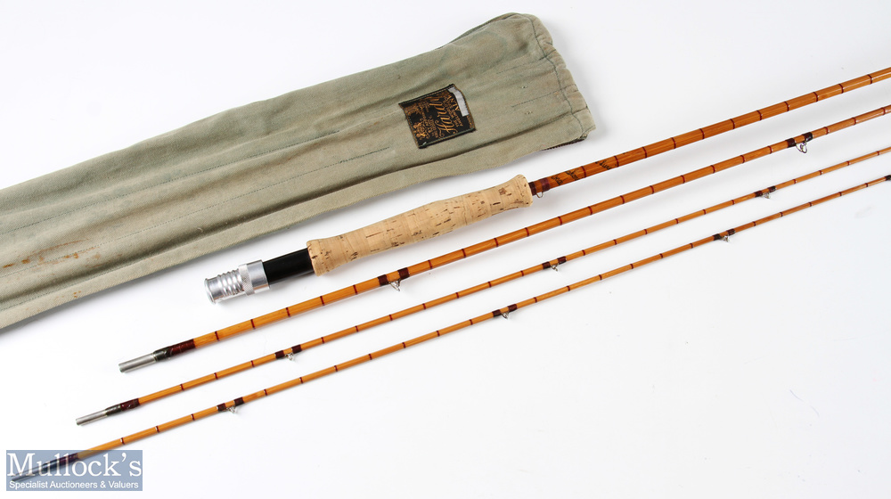 Hardy 'The De-Luxe' split cane fly rod 9ft 3pc plus spare tip, line 6 with Acorns and MCB