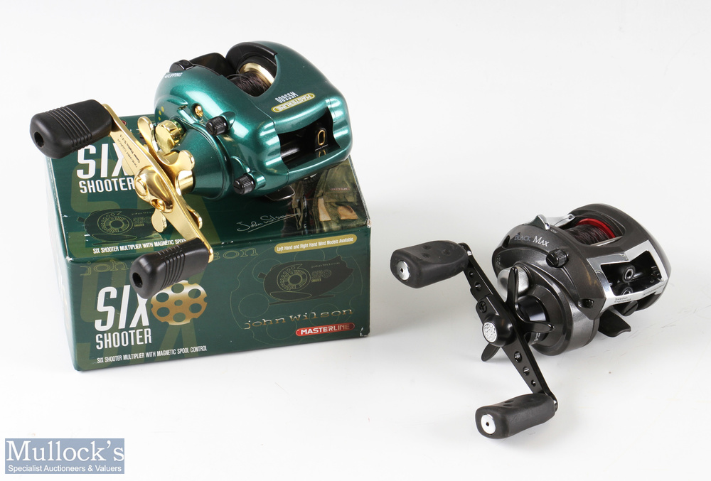 ABU Garcia Black Max bait casting reel in good condition together with a John Wilson Six Shooter