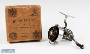 Hardy Bros England Altex No1 Mk II fixed spool reel folding handle, Brit Pat end plate, full bail