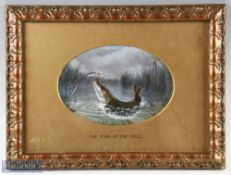 """Henry Jervis Alfred (Attributed) """"The King Of The Pool"""" 19th c oil on canvas laid on board mounted -"""