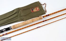 Rare M Lee & Son, Pershore, split cane salmon spinning rod 13ft 6ins 3pc agate lined butt and tip