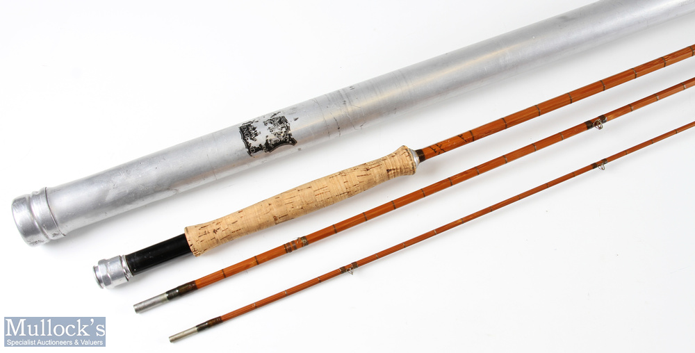 Hardy 'The Itchen' split cane fly rod 9ft 6ins 3pc missing one ring at tip section, with original