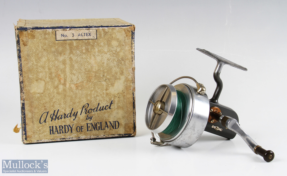 Hardy Bros Altex No3 Mk V fixed spool reel with folding handle, Brit Pat end plate, on/off check,