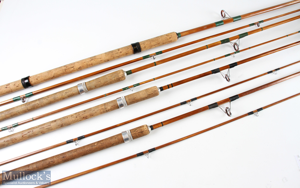 Selection of unnamed split cane spinning rods some with red agate lined butt/tip rings, with cloth