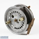 """D Crockart & Son Stirling 4"""" alloy casting reel with quarter rim cut out, twin handle, smooth brass,"""