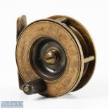 """Struan Patent 2 ½"""" narrow drum all brass reel stamped 'Struan Patent' to dish style faceplate,"""