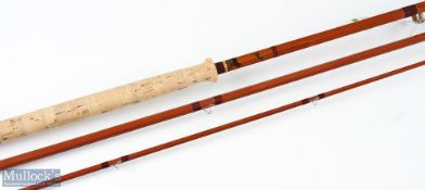 Sharpe's 'The Aberdeen' split cane salmon rod 12ft 6ins 3pc with Acorns, in cloth bag