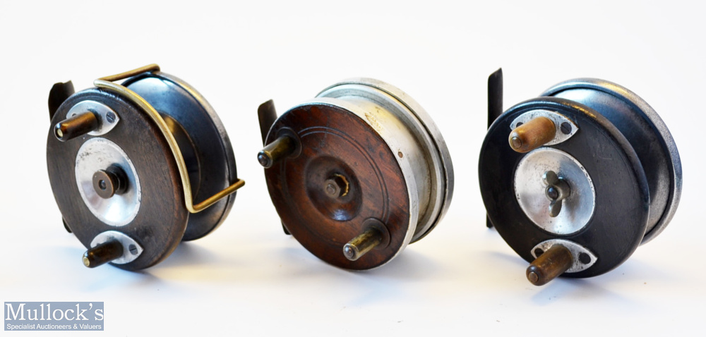 3x various wooden and alloy combination reels - Albert Smith Patent 21873 alloy wrapped mahogany/