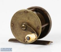 """C Farlow Maker 191 Strand London c852-54, 2"""" all brass winch fly reel with curved crank arm, fixed"""