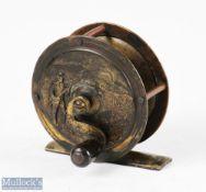 "Reuben Heaton 2 ½"" embossed fishing scene all brass fly reel with serpentine crank handle,"