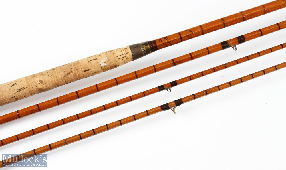 Hardy 'The Wye' split cane salmon fly rod 12ft 6ins 3pc plus spare tip from another Wye, in cloth - Image 2 of 2