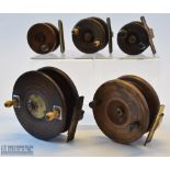 Collection of 5x various sizes wooden Nottingham and brass back reels incl Milwards and Allcocks –
