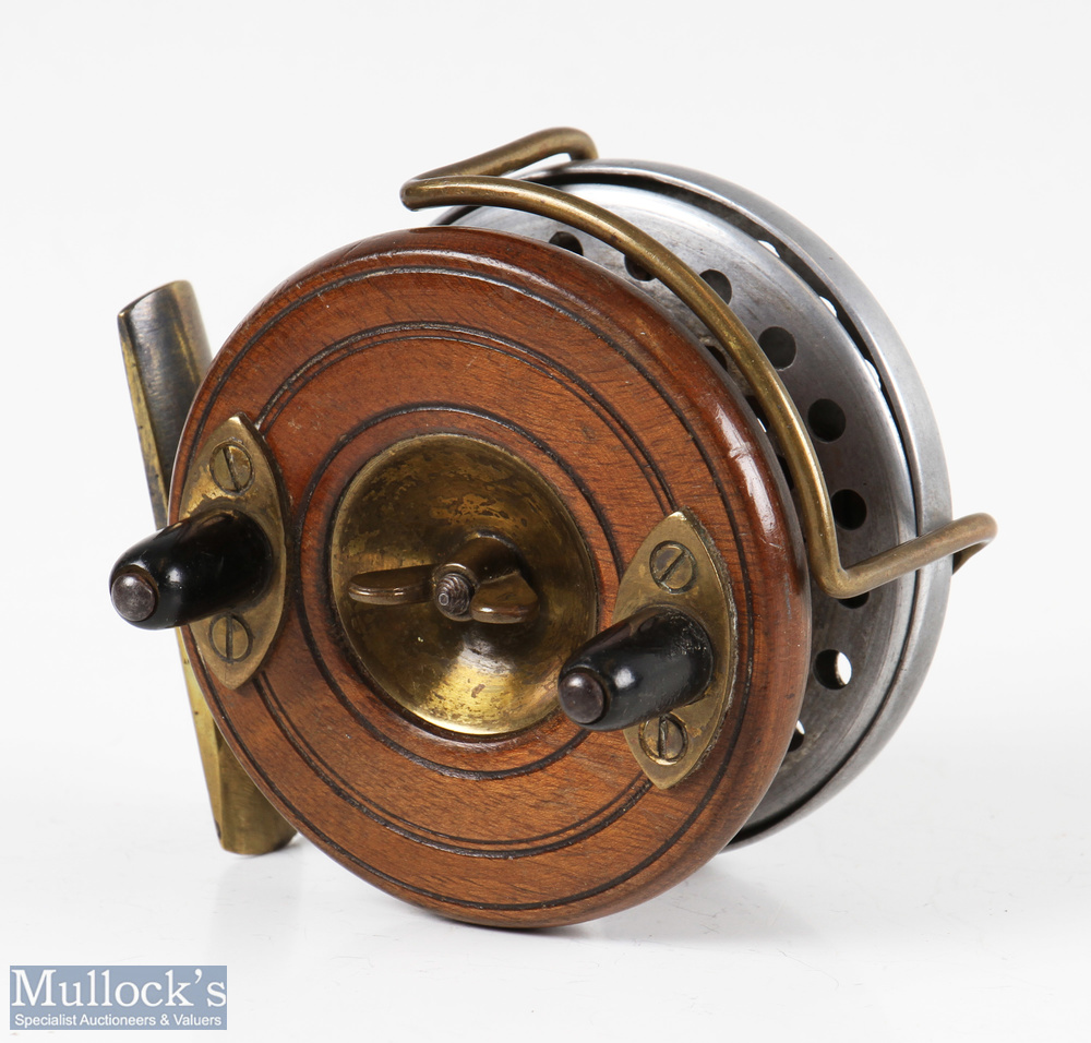"""Unnamed Fosters of Ashbourne style 3"""" Nottingham Sterling reel with perforated alloy backplate and"""