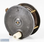 """PD Malloch 3 3/4"""" alloy fly reel with brass pillars, smooth brass foot, white handle, with period"""