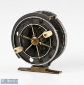 """Rare S Allcock & Co 3"""" Aerial centrepin reel c1914-1925 ventilated front flange drum stamped Patent,"""