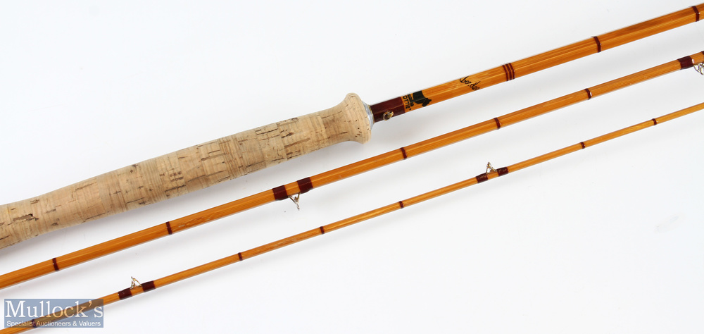 Sharpe's 'The Aberdeen' split cane fly rod 10ft 3pc agate lined butt and tip ring with Acorns, in - Image 2 of 2