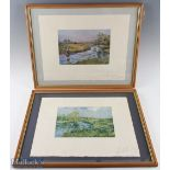 2x Lionel Edwards (1878-1966) Signed Fishing Prints c1920s 'When Bright water meets' and 'The