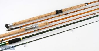 Hardy Bros 'The Marksman' split cane spinning rod 8ft 2pc, 12ft carbon spinning rod in cloth bag,