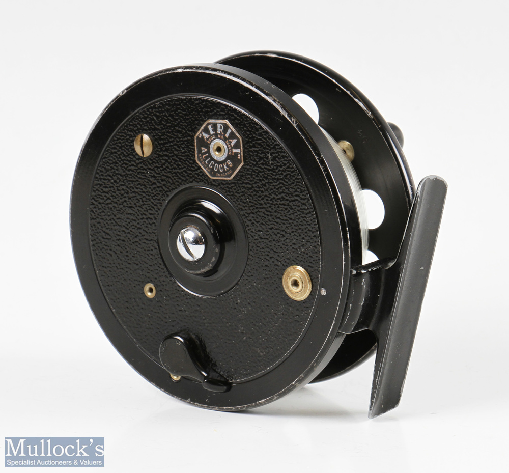 """Allcocks Redditch Aerial 3 3/4"""" centrepin reel width 1 ½"""" total, perforated face, in black finish, - Image 2 of 2"""