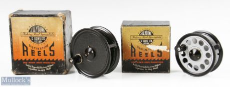 """J W Young & Sons 4"""" Pridex salmon fly reel in black mottled finish, in maker's box, together with"""