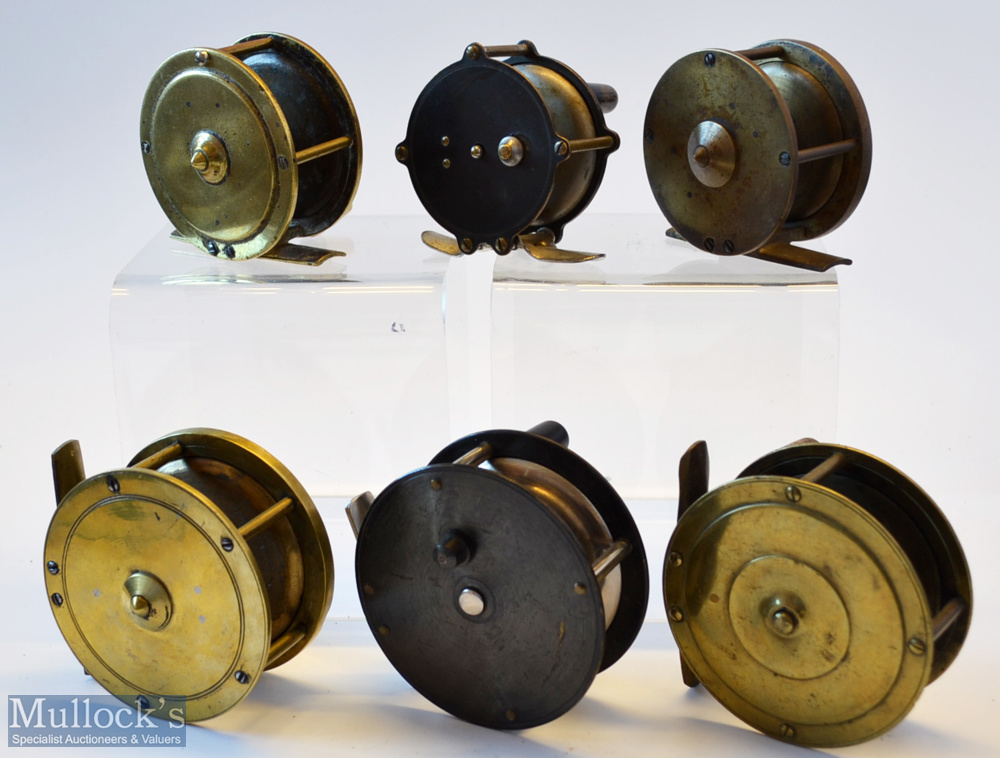 """6x various brass plate crank wind fly reels – 4x crank wind reels – 2 5/8"""" with interesting stamp - Image 2 of 2"""