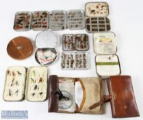 Fly Tins and Flies Selection to include Hardy Bros round copper fly tin, 5 Richard Wheatley tin, b