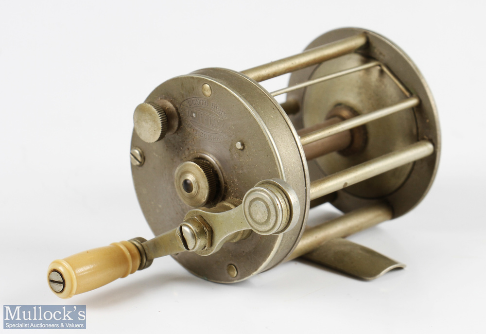 """American South Bend Bait Company nickel multiplying reel 2"""" dia x 2 ¼"""" width total, marked 31832"""