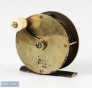 """Jones Maker c1880, 3"""" all brass Salmon winch reel inscribed Jones, Maker 111 Jermyn St, London"""