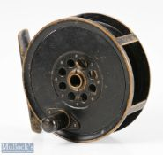 """S Allcock & Co stamped Moscrop Manchester 4"""" patent brake brass fly reel in black finish, screw"""