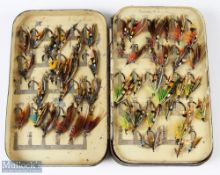 Malloch's Black Japanned Fly Box and Salmon Flies – twin swing leaf clip fly tin containing 100