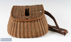 Early 20th century French Reed Small Fishing Creel with centre slot and period leather strap, hinges