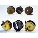 """6x various brass plate crank wind fly reels – 4x crank wind reels – 2 5/8"""" with interesting stamp"""