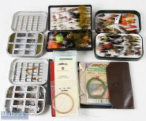 Selection of Fly Cases, Flies and Lines 2x Wheatley dry fly boxes plus a green Orvis Wheatley box