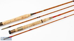 W T Thompsons 10ft 2pc split cane fly rod with cloth bag, together with H. Moore Liverpool 8ft 6in