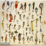Large collection of fishing lures to incl artificial baits, spoons, plugs, dead bait mounts et al (