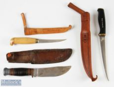 2x Normark, Finland Filleting Knives with another Southern & Richardson, Sheffield knife, all in