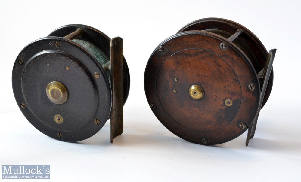 """2x Scottish brass and rosewood salmon reels – 4"""" with domed back plate with half inch rim crack – - Image 2 of 2"""
