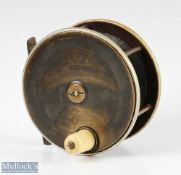 """P D Malloch Perth 4 ½"""" brass and ebonite fly reel with nickel silver rims, large white handle,"""