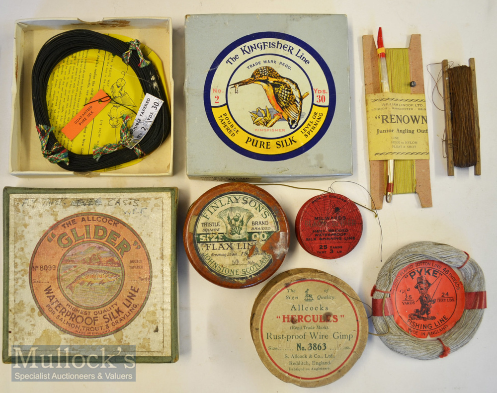 Collection of early fishing lines on makers original cards (8) – Wm Lindop Ltd London –Manchester –