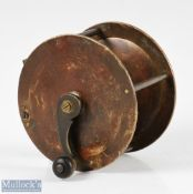 """Rare and Early Ustonson 3 ½"""" brass winch wide drum reel c1840 stamped U to base pillar, with"""