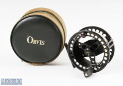 """Orvis Battenkill IV Large Arbour 4"""" fly reel in black, rear drag adjuster, loaded with line, appears"""