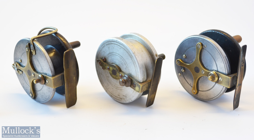 3x various wooden and alloy combination reels - Albert Smith Patent 21873 alloy wrapped mahogany/ - Image 2 of 3