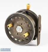 """Hardy Bros England Silex No2 4 ½"""" wide drum alloy spinning reel stamped internally RW, twin"""
