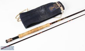 Hardy Graphite De-Luxe fishing rod 10ft 6ins 2pc line 7/8, soiled handle with owner's initials in
