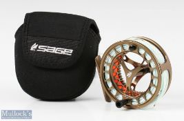 Fine Sage Click Series 3/4/5 fly reel in bronze with a ventilated construction, black handle, loaded