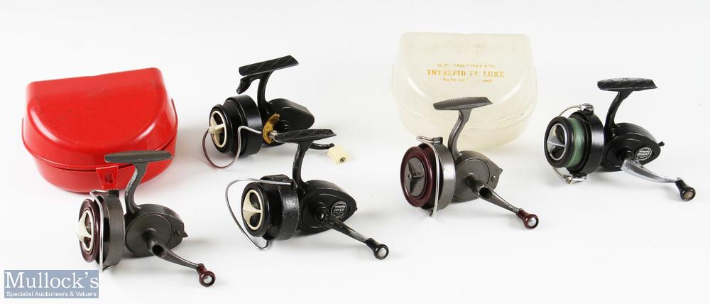 Selection of K P Morritt fixed spool reels featuring Intrepid Regent Intrepid De-Luxe, Intrepid