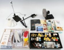 Mixed Collection of Fly Tying Tools and Materials incl Turrall Fly Tying kit with vice, tools and