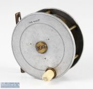 """Hardy Bros England The Field 4 3/8"""" wide drum alloy fly reel with maker's oval logo, perforated"""
