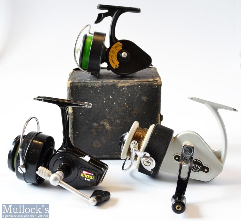 3x Spinning reels - Fine Allcocks Delmatic Mk Two fixed spool reel – LHW, folding handle,